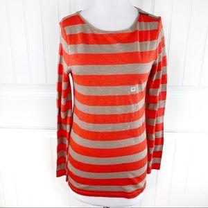 LOFT Striped Crewneck Long Sleeve Knit Sweater Zip